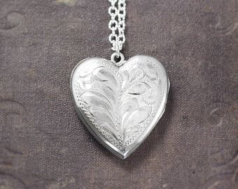 Large Sterling Silver Heart Locket Necklace, Vintage Sterling Two Photo Pendant - Lots of Love