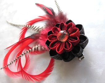 Serpent of the Dying Sun Kanzashi Flower Hair Clip