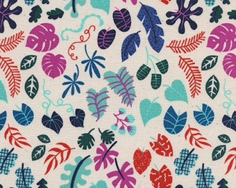 Cotton and Steel Lagoon Leafy Wonder Natural Fabric by the Half Yard