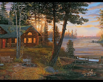 CH7842BD Cabin Fever Border Lodge Landscape Wallpaper Border