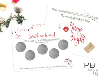 Holiday Rodan+Fields Scratch off Cards (Printed) | customer gift, skincare, 2 sided, business card, printed, R+F, marketing