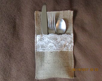 Burlap and Lace Silverware Napkin Holder