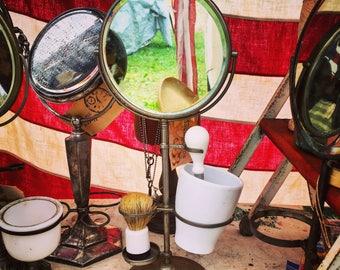 "Shaving Mirror / Tarnished Silver Plate /  Barber Shop / Vanity Mirror / 14"" X 5.5"""