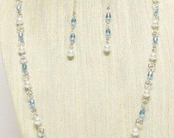 """39"""" White and Aqua Blue AB Necklace Set #20492"""