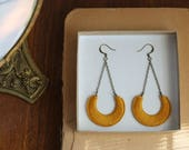 LUNA- thread wrapped statement earrings- fiber, statement, crescent, chain