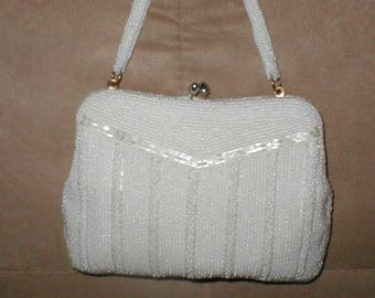 Vintage White  Beaded Evening  Purse