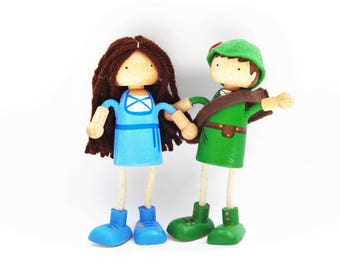 Robin Hood and Maid Marian Dollhouse Dolls - Bendable Arms and Legs -Unique Gift - Ped Doll Wooden