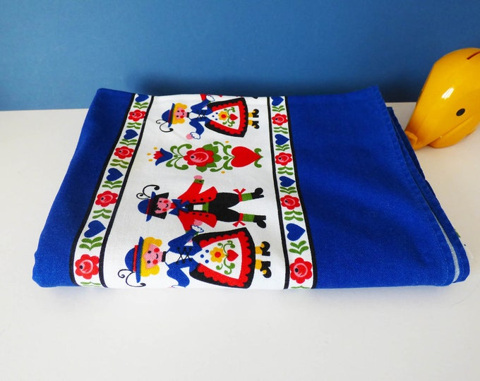 Tablecloth Large thick cotton vintage 1970's Folk art