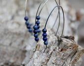Lapis lazuli  sterling silver open hoop earrings