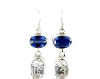 Summer Sale : ) Kyanite White Topaz Earrings Faceted Sterling