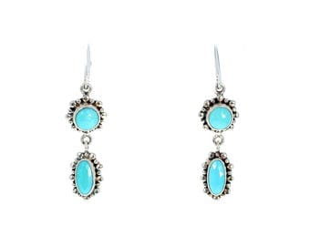 SLEEPING BEAUTY TURQUOISE Earrings 2 Stone Faceted New World Gems