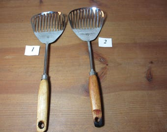 Vintage Ekco  Kitchamajig Slotted Spoon with Wooden Handle, Whisk, Kitchen Utensil, See Description