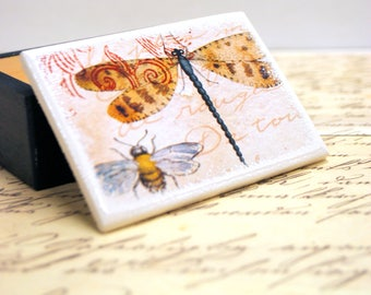 Dragonfly and Bumble Bee Wooden Box, Nature, Bee, Bees, Honey Bee, Purple Dragonfly, Organizer - Jewelry box  - Gift Box