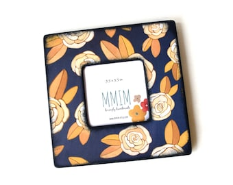 Cabbage Rose Wood Frame, Picture Frame, Instagram Frame, Wooden Frames, Wall mount, Table top, Navy blue, Gifts Under 20, Gifts for her