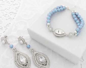 Dusty Blue Wedding Chandelier Earrings and Bracelet Set, Pearl Bridal Jewelry Set of Earrings and Bracelet, Cubic Zirconia, Swarovski Pearls