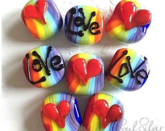 Rainbow 'Love Heart' Focal Bead