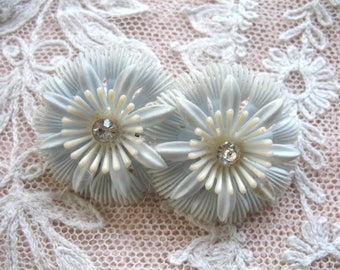Vintage Soft Plastic & Rhinestone Flower Earrings ~ Pale Blue and White ~ Clip On
