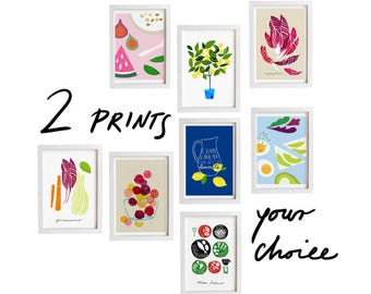 "Your Choice 2 Print Set - 2 x  8.3"" x 11.7"" - Set of 2 prints - Food art - fine art giclee prints"