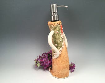 Soap dispenser/soap pump/bathroom accessories/soap pump/whimsical pottery/bridal shower gift/bathroom soap pump