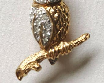 Vintage Tiny Gold Barn Owl Brooch by Attwood Sawyer