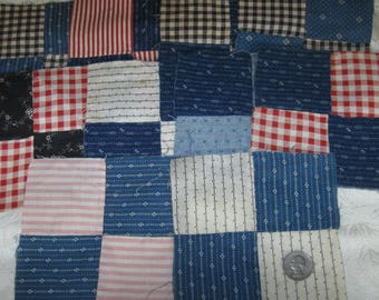 10 Vintage Patchwork Quilt Blocks~Gingham/Plaid/Calico Lot