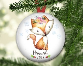 baby's first christmas ornament - fox christmas ornament for kids - keepsake ornaments - baby 1st Christmas ornament - ORN-PERS-3F