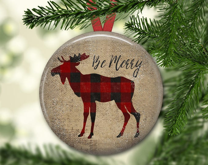 Christmas decorations for tree - primitive  Christmas tree ornaments - plaid moose decor -  ORN-40