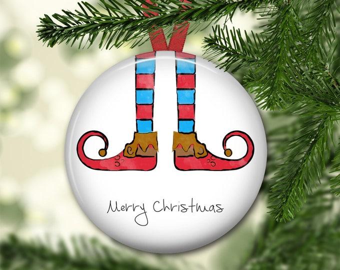 Elf Christmas ornament - elf legs ornament - personalized ornament - kids Christmas ornament - keepsake ornaments - ORN-52