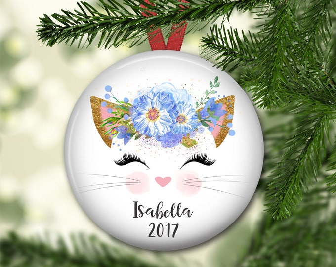personalized  kitty ornament - personalized ornament for baby's first christmas - kitty decorations - ORN-PERS-17