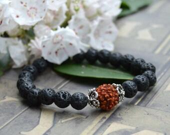 Rudraksha Seed Lava Rock Stretch Energy Bracelet Yoga Mala Beads Wrist Meditaion