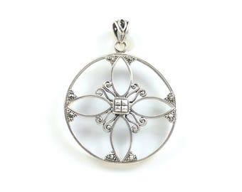 Large Sterling Silver Necklace Pendant Round with Marcasites Lightweight Open Circle with Maltese Cross Design Element Just add a Chain