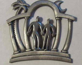 Couple Holding Hands Magnet - Repurposed/Recycled Vintage JJ Brooch