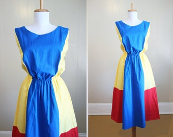 Malcolm Starr Dress Vintage 1970s Colorblock Sleeveless Medium