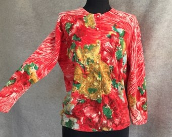 RESERVED...Vintage 60's Cardigan Sweater, DARLENE Cardigan, Coral, Yellow, Green Floral, Mid Century, Size Medium, Bust 40, 50's Rockabilly
