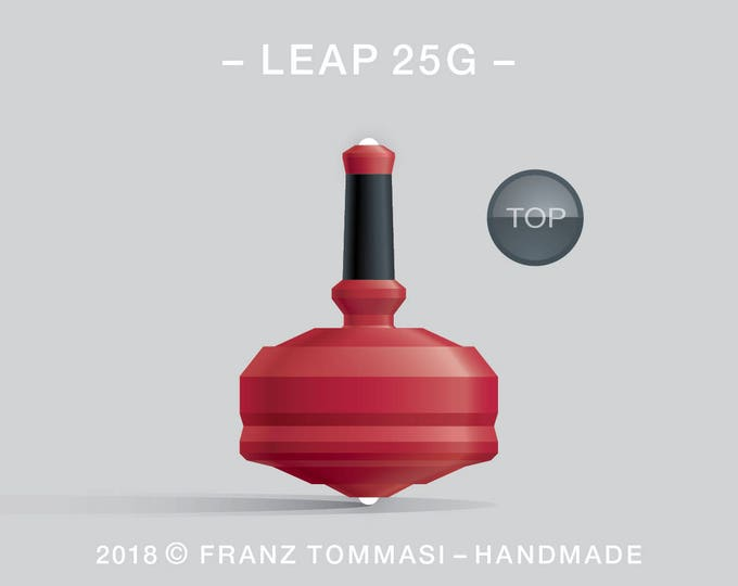 LEAP 25G Red – Precision handmade spin top with dual ceramic tip and integrated rubber grip