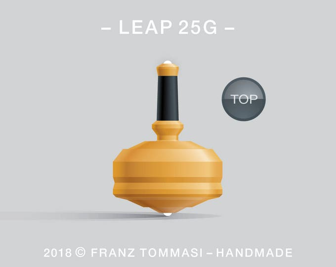 LEAP 25S Yellow – Precision handmade spin top with ceramic tip and integrated rubber grip
