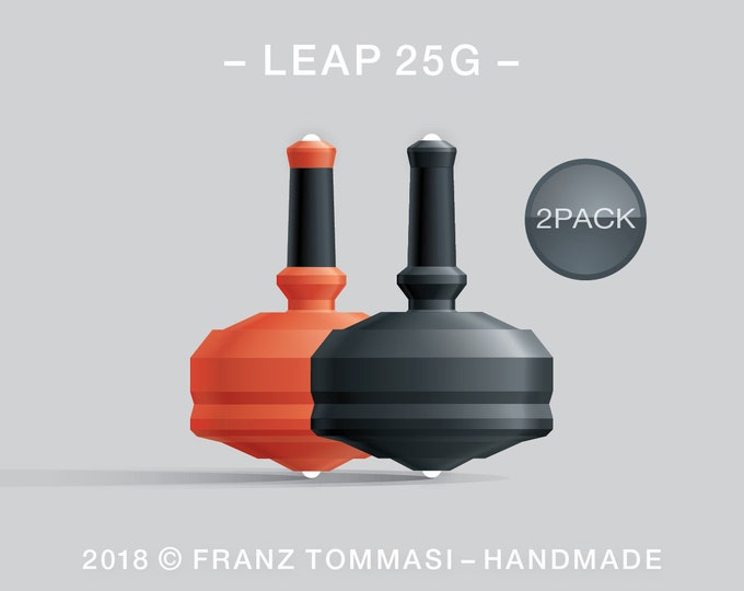 Leap 25G-2Pack (Orange-Black) – Value-priced set of handmade precision spin tops with dual ceramic tip and rubber grip