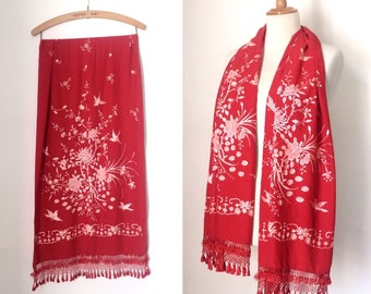 Stunning vintage red silk Chinese embroidered scarf / tasselled pashmina with intricate white blossom and bird embroidery / oriental silk