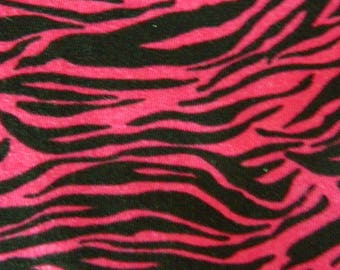"Zebra Knit Fabric - Hot Pink and Black - 2 Yards Long by 56"" Wide"