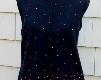 1960s - Black sleeveless Jersey sweater with tiny color balls
