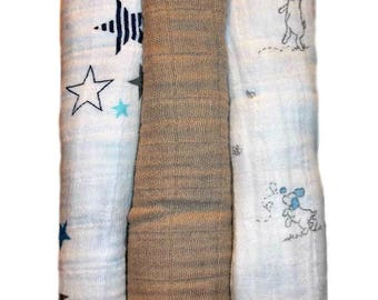 Newborn Baby Boys' 100% Cotton Double Gauze Muslin Receiving Blankets - Star and Puppies Set of 3 Gauze Blankets