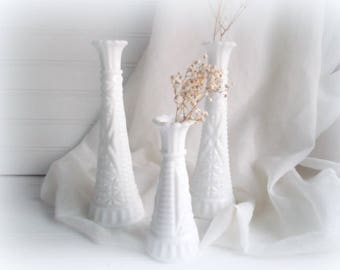 Milk Glass Vase Set Bud Vases Rustic Wedding Vintage Heirloom Vases Farmhouse Decor