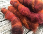 Mini rolags for spinning hand blended punis for your spinning wheel - make a bulky yarn mini skein!