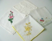 Vintage Handkerchief Lot, Embroidered Handkerchiefs, Floral Handkerchiefs, Ready to ship