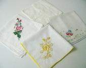 Vintage Taschentuch viel, bestickte Taschentücher, Floral Taschentücher, sofort lieferbar