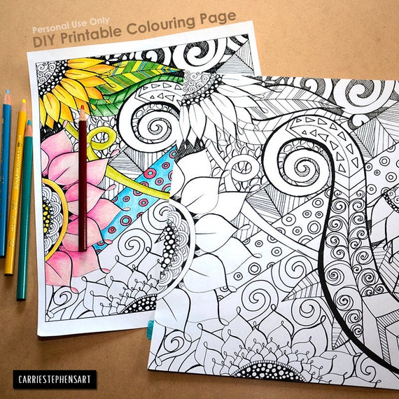 Adult Coloring Book Page Floral Fantasy DIY Printable Hand Drawn