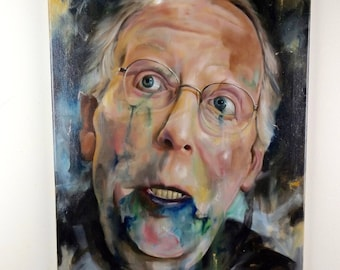 Original Art Painting on Canvas: Mitch McConnell Oil Painting Political Art