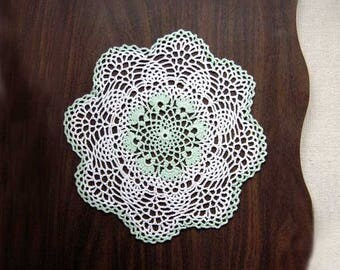 Mint Green and White Crochet Lace Doily, Tabletop Dining, Pineapple Decor, Cottage Chic Table Accessory