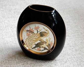 Chokin Vase, Black Porcelain Vase, Peacock Decor, Ceramic Pottery, Asian Birds, Signed Engraved Art, Gold Trim, Vintage, Orig Label, Box