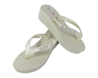 Silver Glitter Wedding Date Personalized Wedge Flip Flops for the Bride- Ivory or White